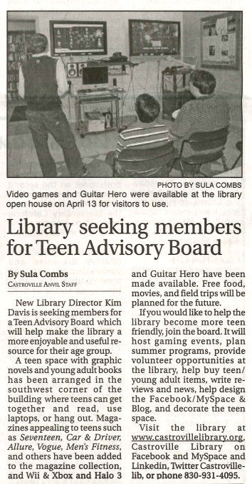 Library Seeking members for Teen Advisory Board by Sula Combs